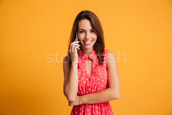 Közelkép fotó bájos barna hajú nő beszél Stock fotó © deandrobot