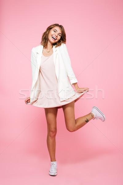 Teljes alakos portré mosolyog derűs lány nyár Stock fotó © deandrobot
