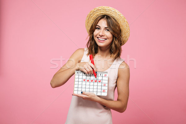 Portrait of a cheerful happy girl in summer hat Stock photo © deandrobot