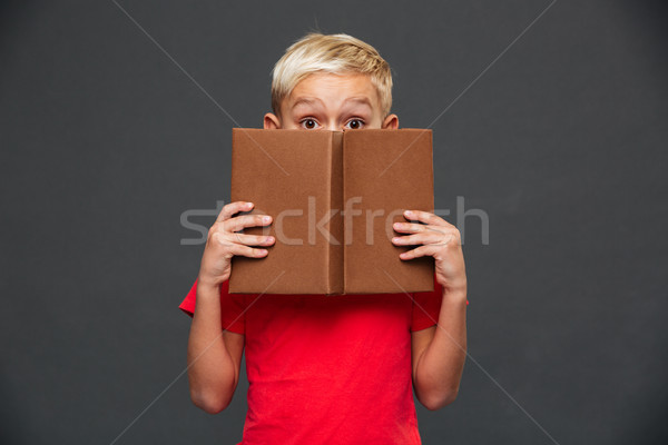 Little boy child covering face with book. Stock photo © deandrobot