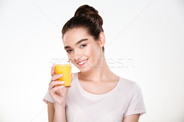 Foto blij prachtig vrouw drinken Stockfoto © deandrobot