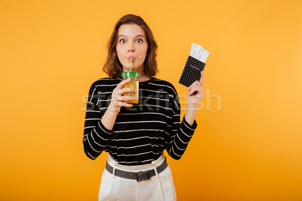 портрет довольно паспорта питьевой коктейль Сток-фото © deandrobot