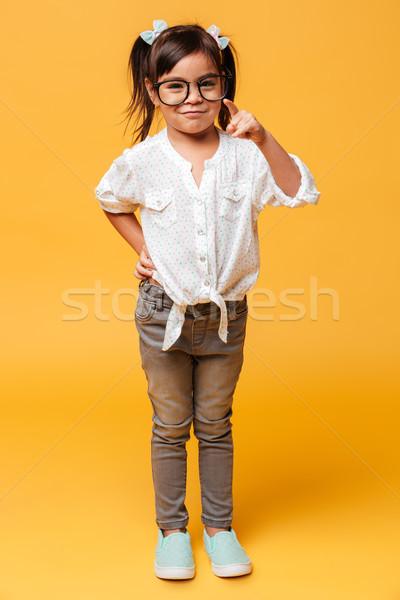 女の子 子 着用 眼鏡 ポインティング ストックフォト © deandrobot
