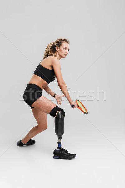 Silne młodych niepełnosprawnych sportsmenka obraz Zdjęcia stock © deandrobot