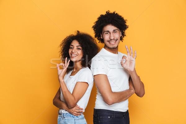 Porträt lächelnd jungen afro Paar Stock foto © deandrobot