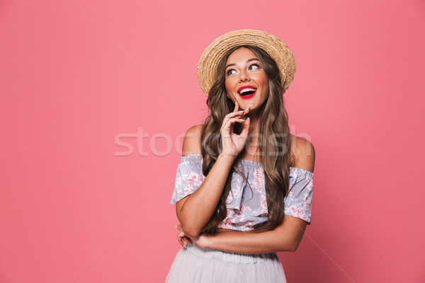 Portrait of pretty glamour woman 20s wearing straw hat laughing  Stock photo © deandrobot