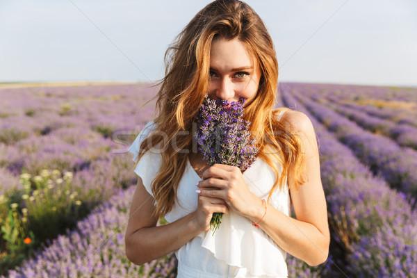 ストックフォト: 写真 · 幸せ · 若い女性 · ドレス · 花束