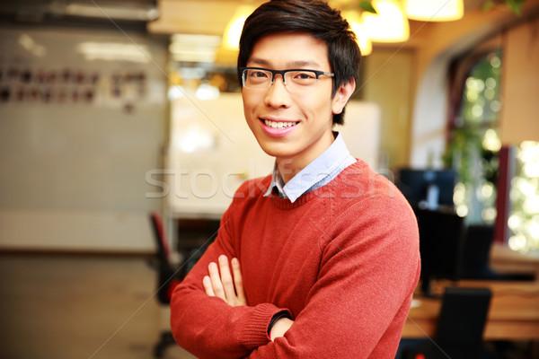 Stockfoto: Portret · jonge · glimlachend · asian · man · armen