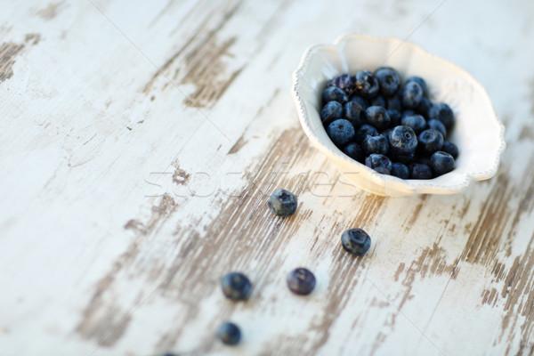 Photo stock: Bleuets · vintage · plaque · fruits · fond · table
