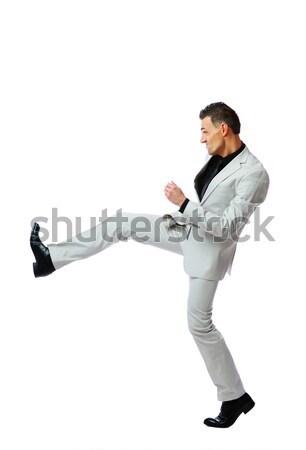 Boos zakenman strijd permanente witte Stockfoto © deandrobot