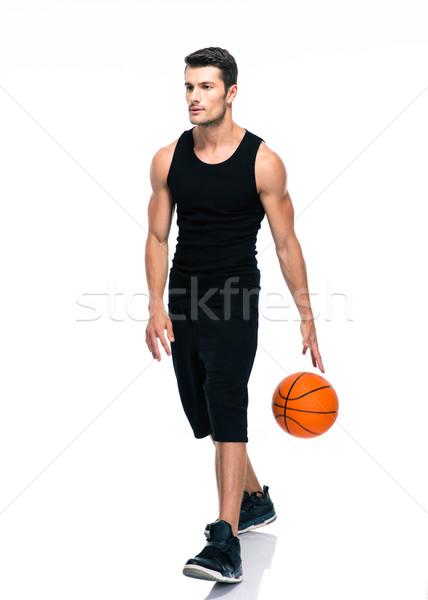 ストックフォト: 肖像 · ハンサムな男 · 演奏 · バスケットボール · スポーツ · 着用