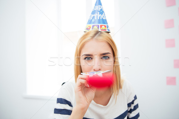 Young girl blows whistle Stock photo © deandrobot