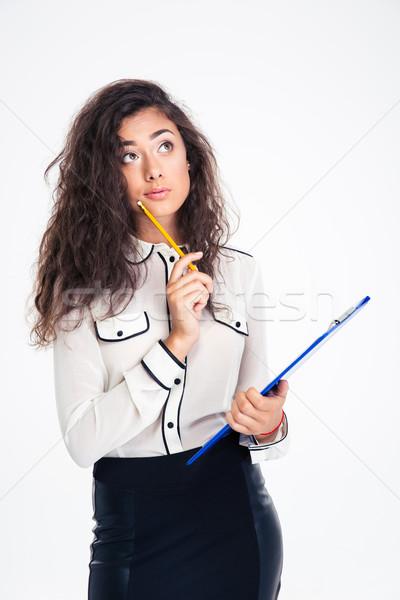Peinzend zakenvrouw potlood portret Stockfoto © deandrobot