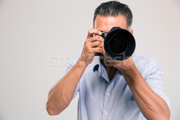 Foto d'archivio: Ritratto · giovani · fotografo · fotocamera · isolato · bianco