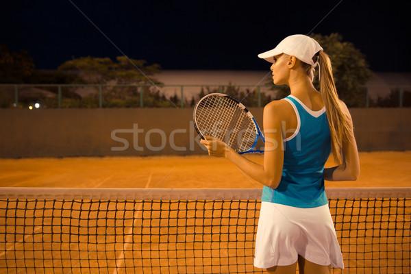 Hátulnézet portré női teniszező ütő bíróság Stock fotó © deandrobot