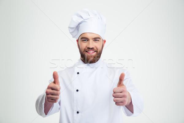 Gelukkig mannelijke chef kok tonen Stockfoto © deandrobot