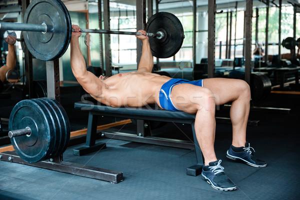 ハンサムな男 トレーニング バーベル 肖像 ベンチ フィットネス ストックフォト © deandrobot