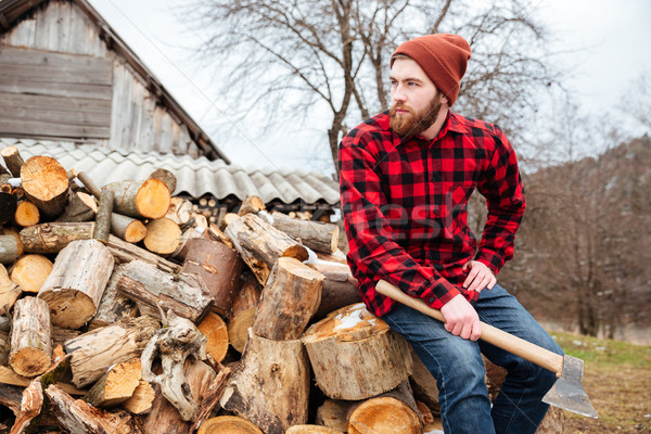 Lenhador machado ao ar livre floresta Foto stock © deandrobot