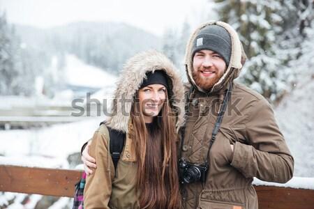 Mutlu sakallı adam ayakta yön Stok fotoğraf © deandrobot