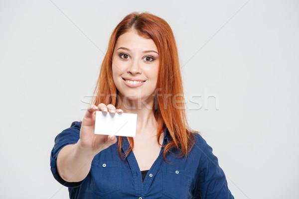 ストックフォト: 魅力的な · 赤毛 · 若い女性 · ブランクカード