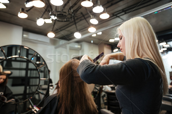 Woman getting haircut by female hairdresser at beauty salon Stock photo © deandrobot