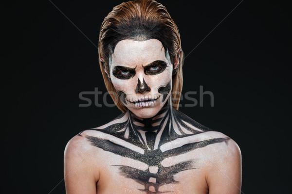 öfkeli genç kadın Gotik halloween makyaj siyah Stok fotoğraf © deandrobot