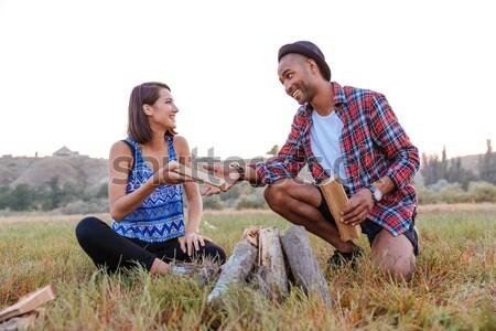 Alegre hoguera aire libre sonriendo Foto stock © deandrobot