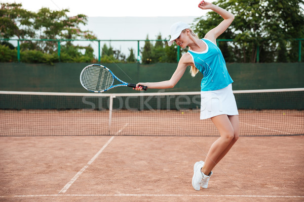 Szépség tenisz modell bíróság teljes alakos portré Stock fotó © deandrobot