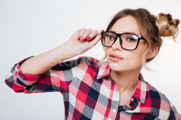 Model in shirt and eyeglasses Stock photo © deandrobot