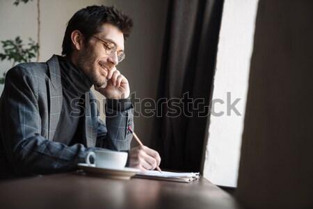 男 ラップトップを使用して カフェ 座って 表 ウィンドウ ストックフォト © deandrobot