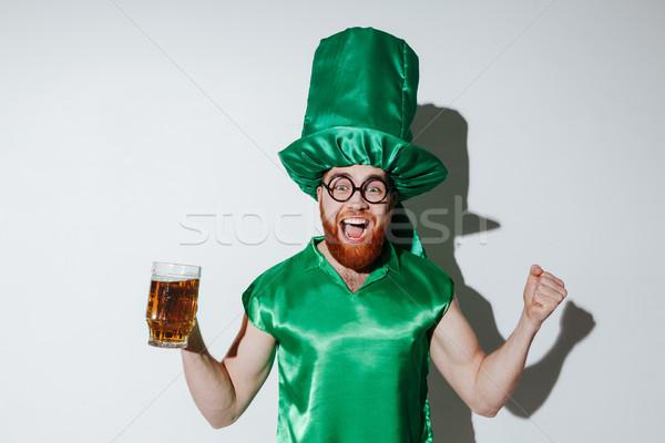Retrato feliz barbudo homem traje Foto stock © deandrobot