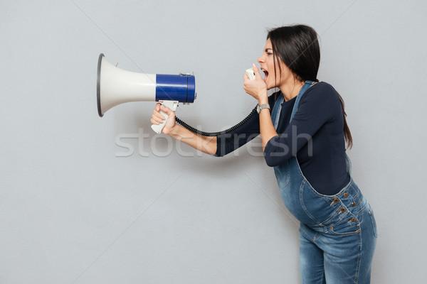 Gritando grávida senhora alto-falante quadro Foto stock © deandrobot