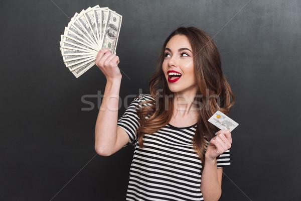 счастливым молодые Lady деньги дебетовая карточка Сток-фото © deandrobot