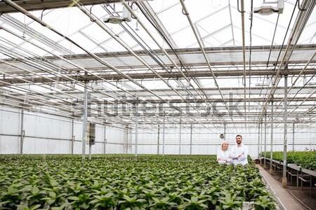 Jonge man schort werken planten jonge Stockfoto © deandrobot