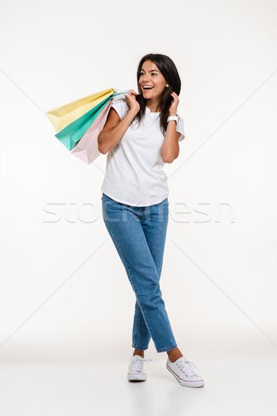 Portret podniecony atrakcyjna kobieta stałego Zdjęcia stock © deandrobot