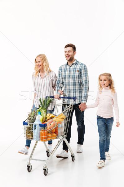 Stock fotó: Teljes · alakos · portré · boldog · család · sétál · bevásárlókocsi · tele