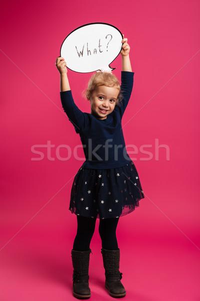 Teljes alakos kép boldog lány tart szövegbuborék mi Stock fotó © deandrobot