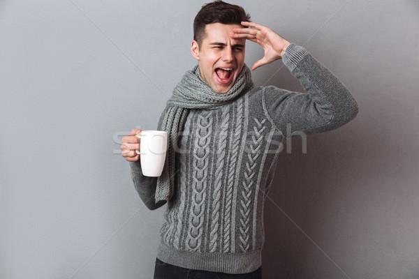 幸せ 病気 男 セーター スカーフ ストックフォト © deandrobot