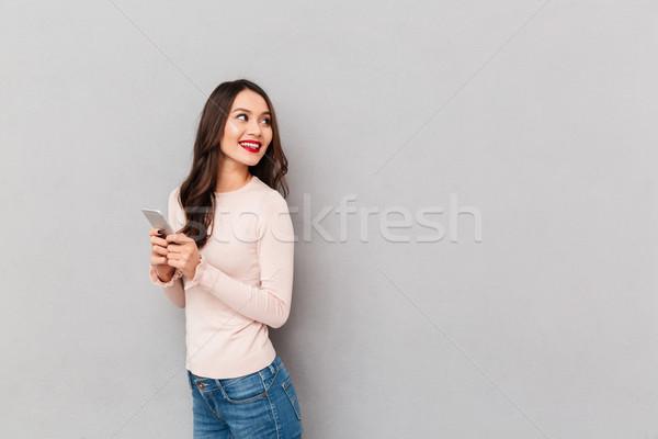 Satisfeito sorridente adulto menina lábios vermelhos Foto stock © deandrobot