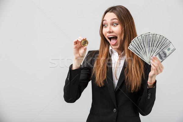 Retrato feliz sorprendido dama mirando dorado Foto stock © deandrobot