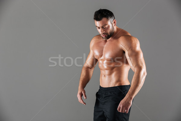 Portrait of a concentrated strong shirtless male bodybuilder Stock photo © deandrobot