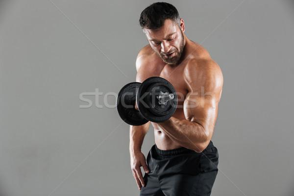 肖像 やる気のある 強い シャツを着ていない 男性 ボディービルダー ストックフォト © deandrobot