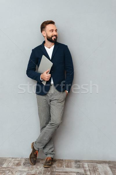 Immagine felice barbuto uomo business Foto d'archivio © deandrobot