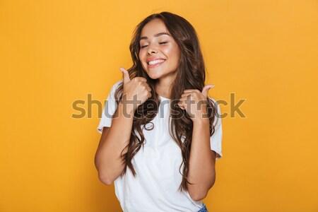 肖像 幸せ 満足した 少女 を構成する 着用 ストックフォト © deandrobot
