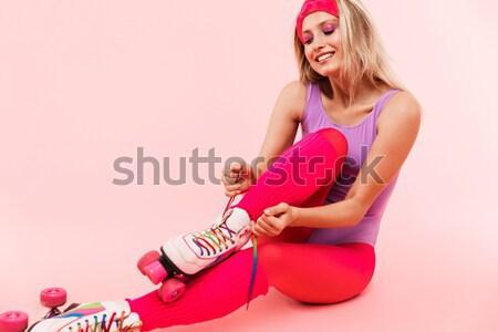 Tam uzunlukta portre mutlu genç kadın mayo atlama Stok fotoğraf © deandrobot