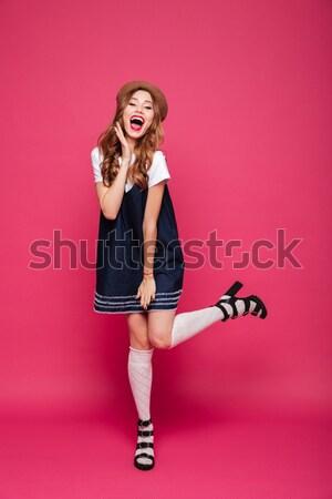 Tam uzunlukta portre mutlu genç kadın mayo poz Stok fotoğraf © deandrobot