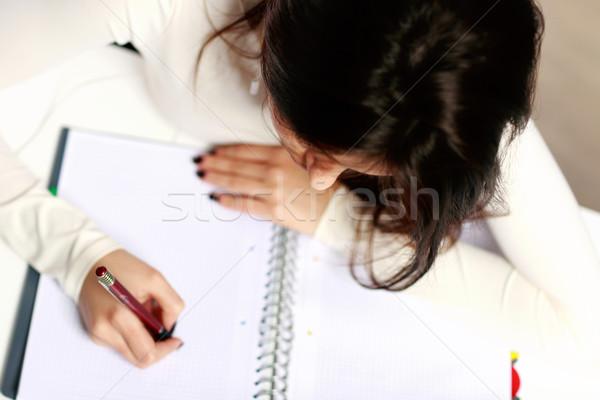 Jonge mooie student huiswerk meisje home Stockfoto © deandrobot