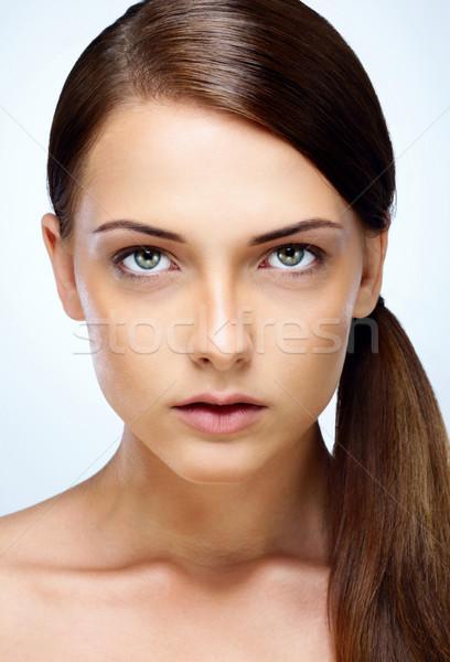 クローズアップ 肖像 小さな 魅力のある女性 クリーン 顔 ストックフォト © deandrobot