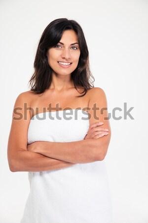 Charmant vrouw permanente armen gevouwen portret Stockfoto © deandrobot