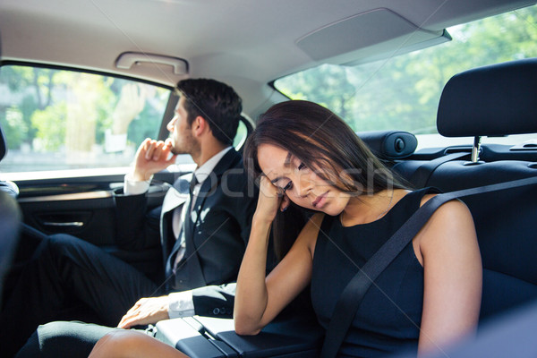 Paar ruhend zurück Sitz Auto schönen Stock foto © deandrobot